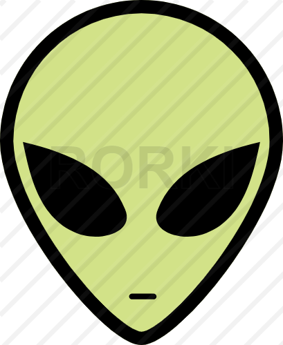 vector alien, face, ufo