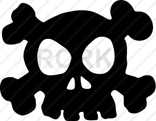 vector skull, crossbones, icon, design, sign, anatomy, cartoon, cut out, cutout, danger, dead, death, head, horror, human, face, spooky, vector, warning, symbol, poisonous, pirate, evil, fear, skeleton